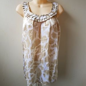 100% Silk Cream & Gold Sleeveless Blouse Tank